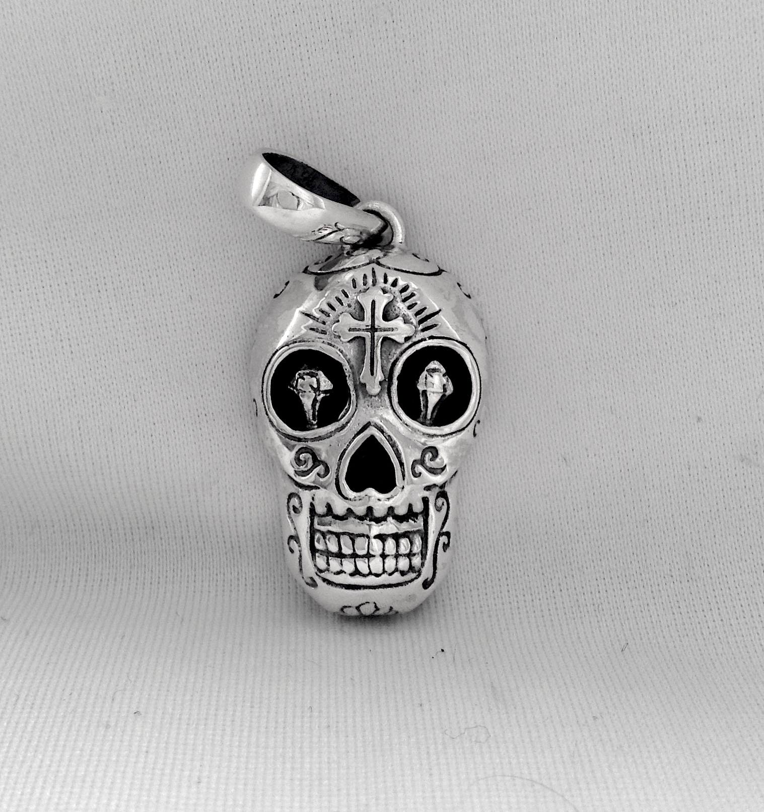 skull sugar large oblacoder fancy necklace pendant silver sterling